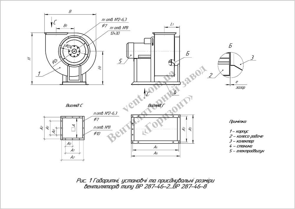 Схема размеры вентилятора промышленного ВР 287-46 (ВЦ 14-46)