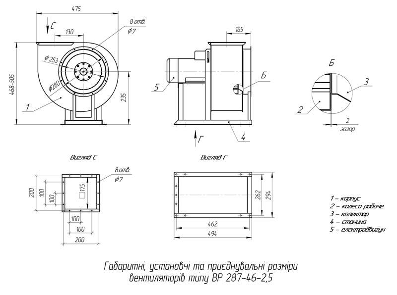 Габаритно-присоединительные размеры вентилятора ВР 287-46 №2,5