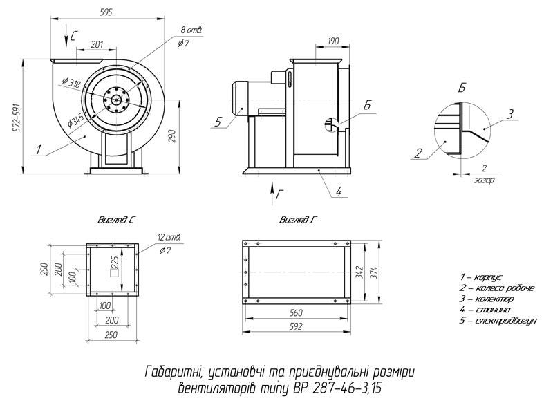 Габаритно-присоединительные размеры вентилятора ВР 287-46 №3,15
