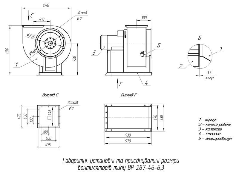 Габаритно-приєднувальні розміри вентилятора ВР 287-46 №6,3