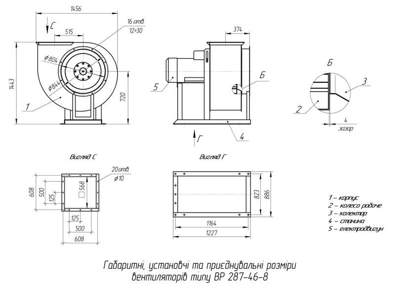 Габаритно-приєднувальні розміри вентилятора ВР 287-46 №8