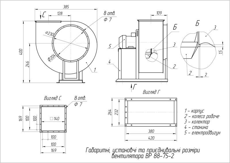 Габаритно-приєднувальні розміри вентилятора ВР 88-75 (ВЦ 4-75) №2