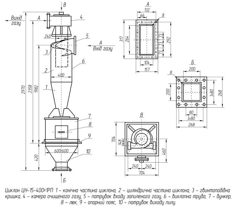 Габаритно-приcоединительная схема циклона универсального ЦН-15-400