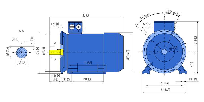 Габаритно-установочна схема электродвигателя