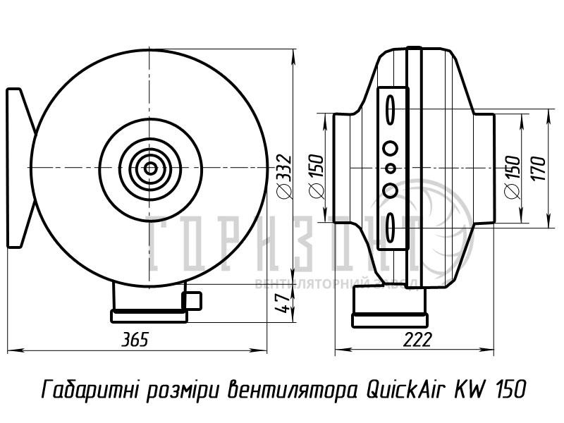 Габаритные размеры канального вентилятора KW 150